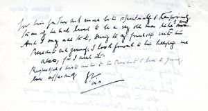 A letter written to Jackie Kennedy by Father Leonard. Photograph: Simon Carswell/The Irish Times