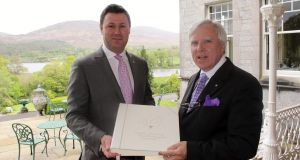 Patrick Hanley (left) of Sheen Falls Lodge and Francis Brennan of the Park Hotel with the Relais & Châteaux Livre D'Or