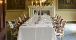 The table set for dinner at Ballyfin Demesne