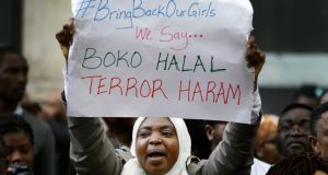 A protest against Boko Haram, which caused outrage by abducting dozens of schoolgirls in Nigeria and threatening them with forced conversion to Islam