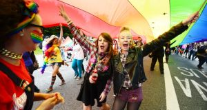 March in summer: participating in the 2013 Gay Pride Parade in Dublin. Photograph: Alan Betson