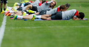 Croatia's Ivan Rakitic (centre) takes part in a training session in Bad Tatzmannsdorf  near Vienna. Photograph: Antonio Bronic / Reuters