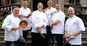 (L-R) Derry Clarke (L'Ecrivan), Kevin Thornton (Thorton's), Joy Beattie (The Hot Stove), Clodagh McKenna (Clodagh's Kitchen), Ross Lewis (Chapter One), Paul Kelly (The Merrion Hotel)