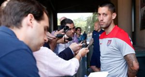 Clint Dempsey of the United Statesspeaks to the media during  before a training session at Stanford Stadium in Palo Alto, California. Photograph: Monica M Davey /EPA