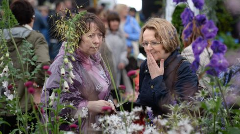 Connie Danaher from Killimer in Co Clare and Mary Lumbroso from Nenagh in Co Tipperary at the opening day. Photograph: Dara Mac Donaill / The Irish Times