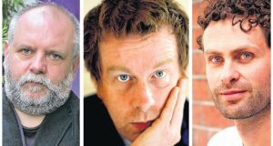 Patrick McCabe, Kevin Barry, and Ross Raisin. Photographs: Cyril Byrne, Matt Kavanagh, Angus Muir