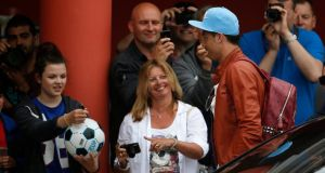 Portugal's Cristiano Ronaldo (right) arrives at the team hotel  in Obidos, Portugal.  Photograph: Rafael Marchante / Reuters
