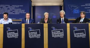 'Perhaps they will revert to type, and their Eurotrash Tower of Babel will teeter and collapse.'  From left,  Matteo Salvini,  Harald Vilimsky, Marine Le Pen,  Geert Wilders and  Marcel de Graaff  address a joint news conference at the European Parliament in Brussels this week.  Photograph: François Lenoir/Reuters