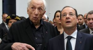 French painter Pierre Soulages (left) and French president François Hollande attend the inauguration of a museum in Rodez. Photograph: Philippe Wojazer/Reuters