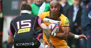 Tom Varndell of Wasps attacks during the European Rugby Champions Cup play-off against Stade Francais  in Paris, France. Photograph:   Charlie Crowhurst/Getty Images