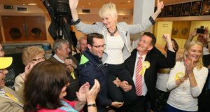 Europe candidate Marian Harkin celebrates after taking the fourth and final seat in the North West Midlands Constituency. Photograph: Michael Donnelly