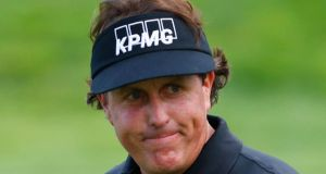 A file image of Phil Mickelson during the  2013 PGA Championship  at Oak Hill Country Club in Rochester, New York. Reports suggest the golfer is being  investigating over possible insider trading.  Photograph: Reuters