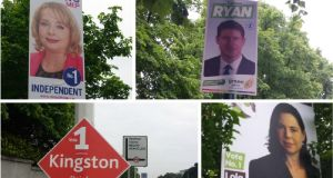 Some of the election posters that remain up in Dublin this morning. Clockwise from top left, Nessa Childers, Eamon Ryan, Deirdre Kingston and Lola Hynes.  Photographs: Kitty Holland
