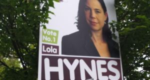 An election poster for People Before Profit  candidate Lola Hynes on Merrion Row in Dublin this morning. Photograph: Kitty Holland