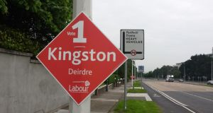 An election poster for Labour Party candidate Deirdre Kingston on the N11 in Dublin this morning. Photograph: Kitty Holland