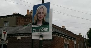 A poster for Fianna Fail candidate Lorraine Clifford on Bloomfield Park in Dublin's Portobello this morning. Photograph: David Labanyi