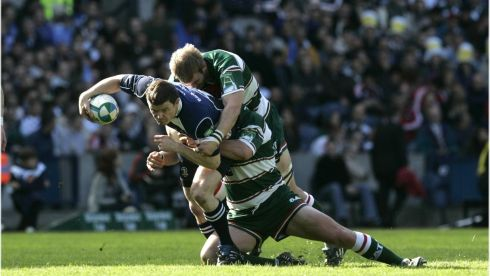Hard yards: Brian O'Driscoll against Leicester Tigers in the  Heineken Cup final at Murrayfield, Edinburgh in 2009.  Photograph: Dara Mac Dónaill / THE IRISH TIMES