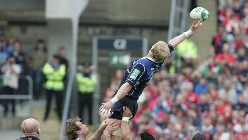 Leo Cullen reaches high against  Munster in the Heineken Cup Semi Final at Croke Park in 2009. Photograph: Alan Betson / THE IRISH TIMES