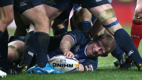 Leinster's Leo Cullen at the bottom of a ruck against Muinster in 2013.  Photograph: Billy Stickland / THE IRISH TIMES