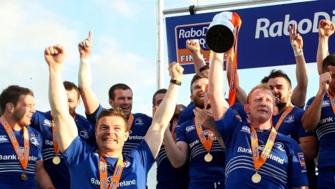 Departing heroes: Brian O'Driscoll and Leo Cullen celebrate their final trophy with Leinster together. Photograph: Dan Sheridan / Inpho