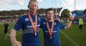 Leinster's Leo Cullen and Brian O'Driscoll after the  RaboDirect PRO12 Final at the RDS, Dublin. Photograph:  Niall Carson/PA Wire