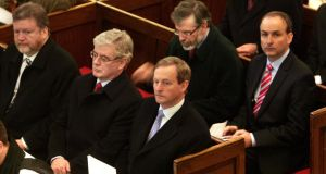 Party leaders at an inter-denominational service of prayer for the assembly of the 31st Dáil. A grand coalition involving Fine Gael and Fianna Fáil or a coalition involving Fianna Fáil and Sinn Féin would be radical departures
