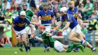 Tipperary's Patrick Maher, John O'Dwyer, Seamus Callanan and Niall O'Meara crowd out Seamus Hickey at Semple Stadium. Photograph: James Crombie/Inpho