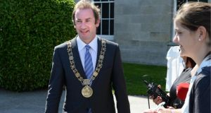 Lord Mayor of Dublin Oisín Quinn: will hand over chain of office next Friday. Photograph: Dara Mac Dónaill