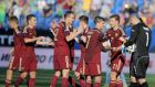 Russian players  celebrate a goal against   Slovakia  in St. Petersburg last month. Photograph: Olga Maltseva / Getty Imges