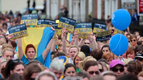 Running in support of Ukraine. Photograph: Niall Carson/PA Wire