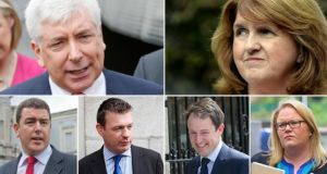 The battle for Labour Party leader is between (top) Alex White and Joan Burton, while the deputy leadership race will be contested by (below from left), Michael McCarthy, Alan Kelly, Seán Sherlock and Ciara Conway.