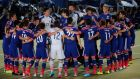 Japan players huddle during a send-off ceremony for the World Cup  in Tokyo on May 25th.  Photograph: Toru Hanai / Reuters