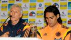 Colombia's national soccer team coach Jose Pekerman, next to the injured   Radamel Falcao (right), announces the 23-man squad for the World Cup finals. Photograph: Enrique Marcarian /Reuters