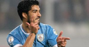 Uruguay's Luis Suarez, El Pistolero, love him or hate, he's some player.  Photograph: Enrique Castro-Mendivil / Reuters
