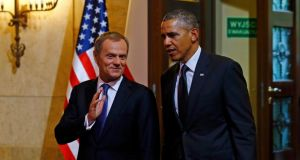 US president Barack Obama is welcomed by Polish prime minister Donald Tusk at the latter's office in Warsaw yesterday.   Photograph: Reuters/Kacper Pempel