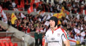 A dejected Stephen Ferris after Ulster's Heineken Cup quarter-final defeat  to Saracens at Ravenhill, Belfast, in April. Photograph: Inpho