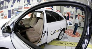 A Google self-driving car on show at the Computer History Museum in Mountain View, California. Photograph: Eric Risberg/AP