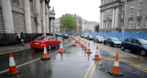 Restricted traffic at College Green/Westmoreland Street in Dublin. Photograph: Dave Meehan