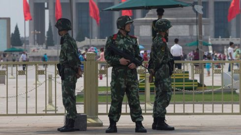 Chinese paramilitary policemen are deployed at Tiananmen Square in Beijing on the 25th anniversary of the Chinese government crackdown on pro-democracy protests at Tiananmen Square in 1989. Photograph: Rolex Dela Pena/EPA