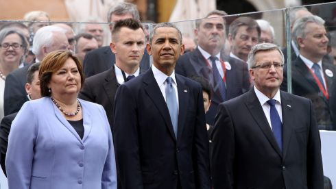 President of Poland Bronislaw Komorowski (R) and Anna Komorowska (L) with US president Barack Obama (C) attend the 'Freedom Day' celebrations at the Castle Square in Warsaw, Poland. Poland celebrates the 25th anniversary of the first partly free election after World War II, which brought to end decades of communist rule in Poland. Photograph: Pawel Supernak Poland Out/EPA