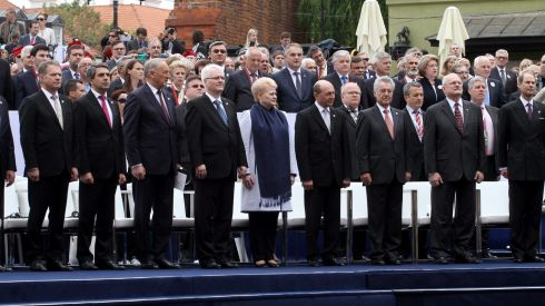 Finnish President Sauli Niinistoe, Bulgarian President Rosen Plevneliev, Latvian President Andris Berzins, Croatian President Ivo Josipovic, Lithuanian President Dalia Grybauskaite, Romanian President Traian Basescu, Austrian President Heinz Fischer, Slovakian President Ivan Gasparovic and British Prince Edward, Duke of Kent,  attend for the 'Freedom Day' celebrations at the Castle Square in Warsaw, Poland. Photograph: Pawel Supernak Poland Out/EPA