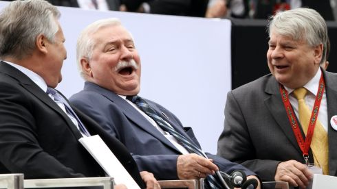 Former President of Poland, Solidarity Movement leader and Nobel Peace Prize laureate lech Walesa (C) chats with former President of Poland Aleksander Kwasniewski (L) and Senate Speaker Bogdan Borusewicz (R) at the 'Freedom Day' celebrations at the Castle Square in Warsaw. Photograph: Pawel Supernak Poland Out/EPA