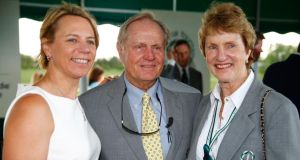 Annika Sorenstam (L) poses with Jack and Barbara Nicklaus following the memorial induction ceremony prior to the Memorial Tournament  at Muirfield Village Golf Club  in Dublin, Ohio. Photograph: Sam Greenwood/Getty Images