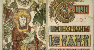 A detail from The Book of Kells, which was created on vellum by Irish monks. Photograph: Hulton Archive/Getty Images.