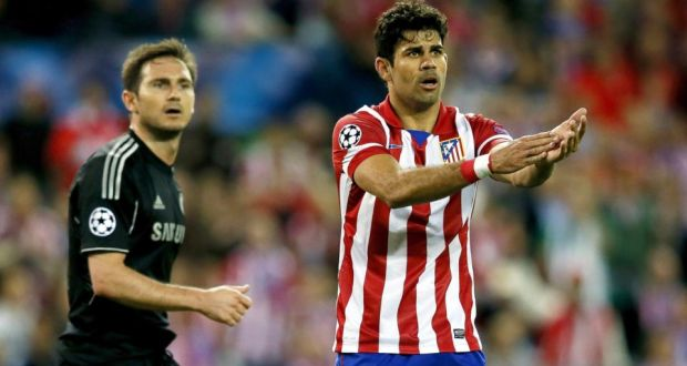 Atletico Madrid's striker Diego Costa next to Chelsea midfielder Frank Lampard  during their  Uefa Champions League semi-final first leg soccer match at Vicente Calderon stadium in Madrid, Spain.