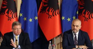 EU enlargement commissioner Stefan Fühle (left) attends a news conference with Albania's prime minister Edi Rama in Tirana on Wednesday. The European Commission recommended Albania be granted candidate status to the European Union. Photograph: Arben Celi/Reuters