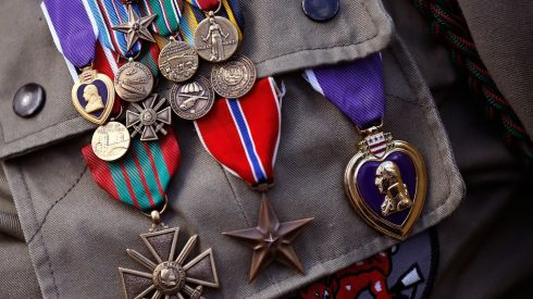 The medals of George Shenkle, a 93-year-old World War II veteran with the 82nd Airborn Division, are shown during a ceremony honouring those who fought in the Normandy campaign on the day before the 70th anniversary of D-Day. Photograph: Win McNamee/Getty Images