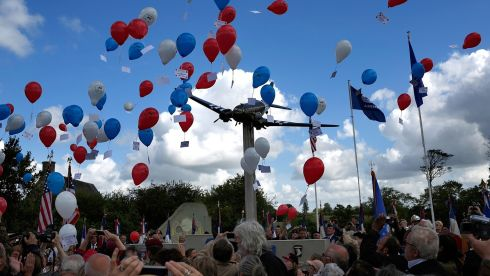 Red, whie and blue balloons are released  during a ceremony honoring those who fought in the Normandy campaign on the day before the 70th anniversary of D-Day in Picauville, France. June 6th is the 70th anniversary of the D-Day landings which saw 156,000 troops from the allied countries including the United States and the United Kingdom join forces to launch an attack on the beaches of Normandy, these assaults are credited with the eventual defeat of Nazi Germany.  Photograph Win McNamee/Getty Images