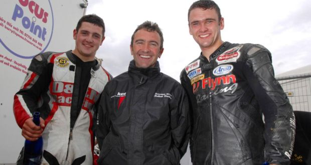 Robert Dunlop with sons William and Michael