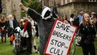 Protesters demonstrating in London. In farmers' eyes, animal rights activists feel sympathy for the badgers culled in Gloucestershire and Wiltshire in a trial last year, but none for them or  their stock. Photograph: PA